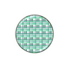 Green Plaid Pattern Hat Clip Ball Marker by Valentinaart