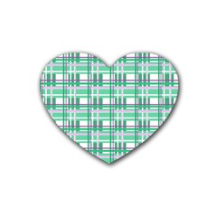 Green Plaid Pattern Rubber Coaster (heart)  by Valentinaart