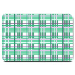 Green Plaid Pattern Large Doormat  by Valentinaart