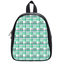 Green Plaid Pattern School Bags (small)  by Valentinaart
