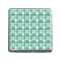 Green Plaid Pattern Memory Card Reader (square) by Valentinaart