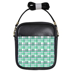 Green Plaid Pattern Girls Sling Bags by Valentinaart