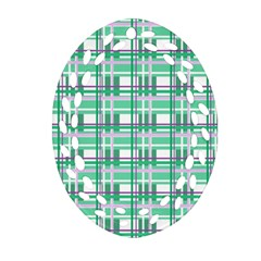 Green Plaid Pattern Oval Filigree Ornament (2 Side)  by Valentinaart