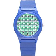 Green Plaid Pattern Round Plastic Sport Watch (s)
