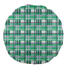 Green Plaid Pattern Large 18  Premium Round Cushions by Valentinaart
