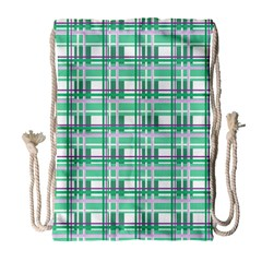 Green Plaid Pattern Drawstring Bag (large) by Valentinaart