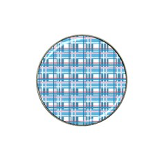 Blue Plaid Pattern Hat Clip Ball Marker (4 Pack) by Valentinaart