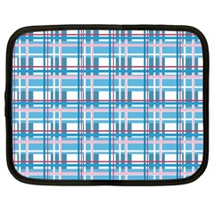 Blue Plaid Pattern Netbook Case (large)