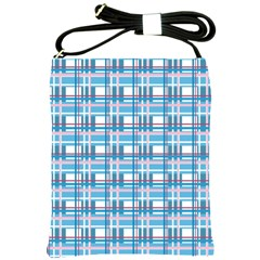 Blue Plaid Pattern Shoulder Sling Bags by Valentinaart