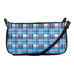 Blue Plaid Pattern Shoulder Clutch Bags by Valentinaart