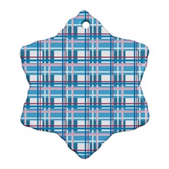 Blue Plaid Pattern Snowflake Ornament (2 Side) by Valentinaart