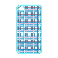Blue Plaid Pattern Apple Iphone 4 Case (color) by Valentinaart