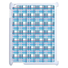 Blue Plaid Pattern Apple Ipad 2 Case (white) by Valentinaart