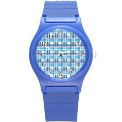 Blue Plaid Pattern Round Plastic Sport Watch (s) by Valentinaart