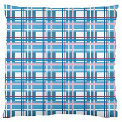 Blue Plaid Pattern Large Cushion Case (two Sides) by Valentinaart