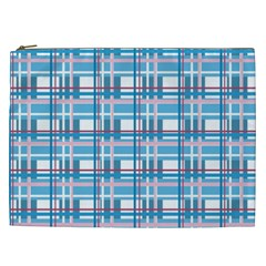 Blue Plaid Pattern Cosmetic Bag (xxl)  by Valentinaart