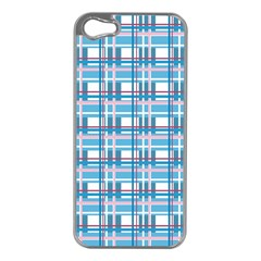 Blue Plaid Pattern Apple Iphone 5 Case (silver) by Valentinaart