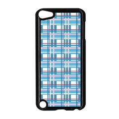 Blue Plaid Pattern Apple Ipod Touch 5 Case (black) by Valentinaart