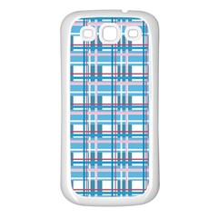 Blue Plaid Pattern Samsung Galaxy S3 Back Case (white) by Valentinaart