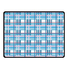 Blue Plaid Pattern Double Sided Fleece Blanket (small)  by Valentinaart