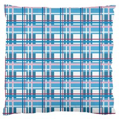 Blue Plaid Pattern Large Flano Cushion Case (one Side) by Valentinaart