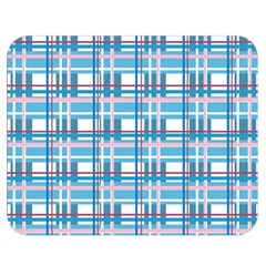 Blue Plaid Pattern Double Sided Flano Blanket (medium)  by Valentinaart