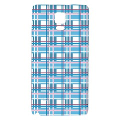 Blue Plaid Pattern Galaxy Note 4 Back Case by Valentinaart