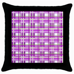 Purple Plaid Pattern Throw Pillow Case (black) by Valentinaart