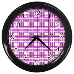 Purple Plaid Pattern Wall Clocks (black) by Valentinaart