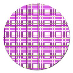Purple Plaid Pattern Magnet 5  (round) by Valentinaart