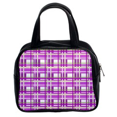Purple Plaid Pattern Classic Handbags (2 Sides) by Valentinaart