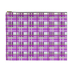 Purple Plaid Pattern Cosmetic Bag (xl) by Valentinaart