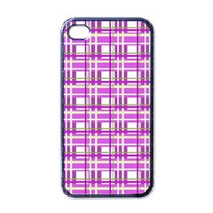 Purple Plaid Pattern Apple Iphone 4 Case (black) by Valentinaart