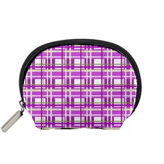 Purple Plaid Pattern Accessory Pouches (small)  by Valentinaart