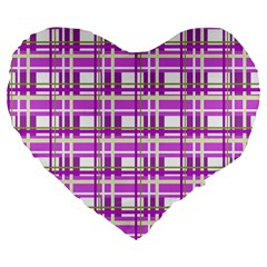 Purple Plaid Pattern Large 19  Premium Flano Heart Shape Cushions