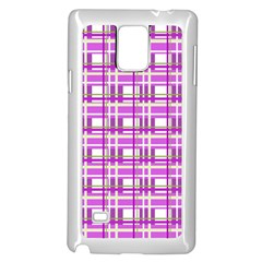 Purple Plaid Pattern Samsung Galaxy Note 4 Case (white) by Valentinaart