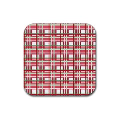 Red Plaid Pattern Rubber Coaster (square)  by Valentinaart
