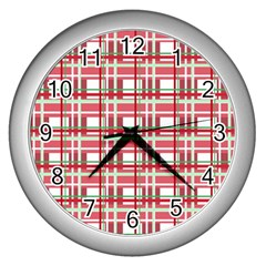 Red Plaid Pattern Wall Clocks (silver)  by Valentinaart