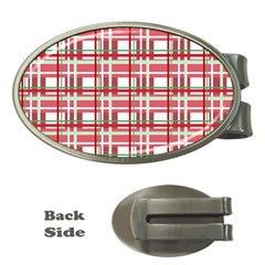 Red Plaid Pattern Money Clips (oval)