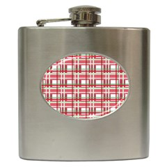 Red Plaid Pattern Hip Flask (6 Oz) by Valentinaart