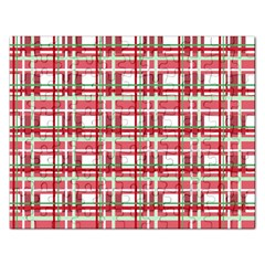 Red Plaid Pattern Rectangular Jigsaw Puzzl by Valentinaart