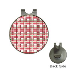 Red Plaid Pattern Hat Clips With Golf Markers by Valentinaart