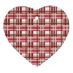 Red Plaid Pattern Heart Ornament (2 Sides) by Valentinaart
