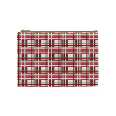 Red Plaid Pattern Cosmetic Bag (medium)  by Valentinaart
