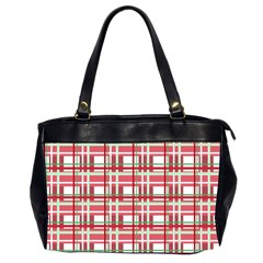 Red Plaid Pattern Office Handbags (2 Sides)  by Valentinaart