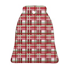 Red Plaid Pattern Bell Ornament (2 Sides) by Valentinaart