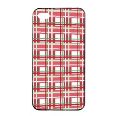 Red Plaid Pattern Apple Iphone 4/4s Seamless Case (black) by Valentinaart