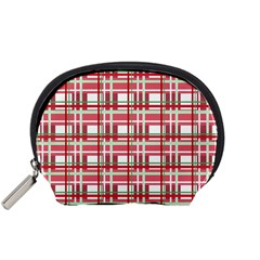 Red Plaid Pattern Accessory Pouches (small)  by Valentinaart