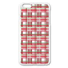 Red Plaid Pattern Apple Iphone 6 Plus/6s Plus Enamel White Case by Valentinaart