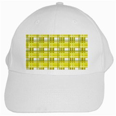 Yellow Plaid Pattern White Cap by Valentinaart